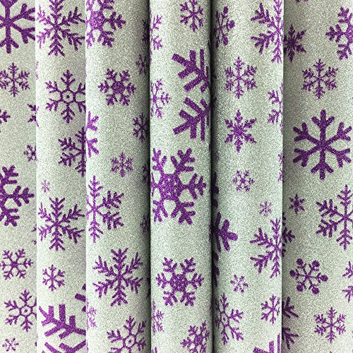 10 Sheets A4 Christmas Glitter Self-Adhesive Craft Vinyl Art Sparkling Sign Sticker Gemstone Metallic Colour Diy Gift (Snowflake)