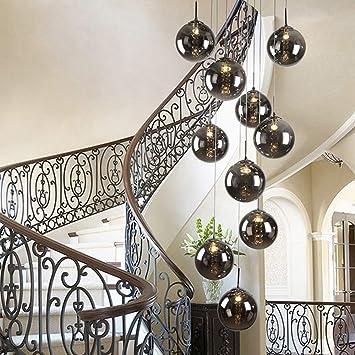 NA 10 Bolas de Cristal de la lámpara Pendiente Larga Escalera Duplex Luz Edificio Grande Que