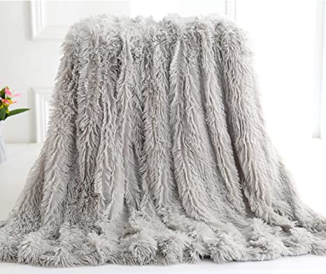 "Super Soft Luxurious Sherpa Throw Blanket Fuzzy Faux Fur Lightweight 51/"" X 62/"""