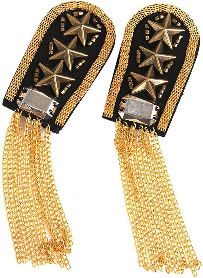 FENICAL 1 Pair Star Tassel Link Chain Epaulet Shoulder Boards Badge (Gold)
