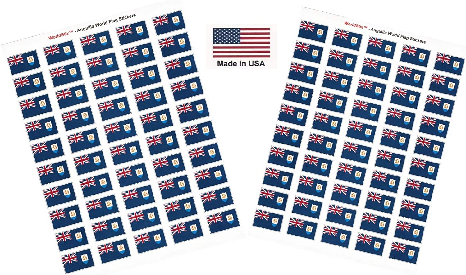 Two Sheets of 50 Belize 100 Country Flag 1.5 x 1 Self Adhesive World Flag Stickers Made in USA 100 Sticker Flags Total