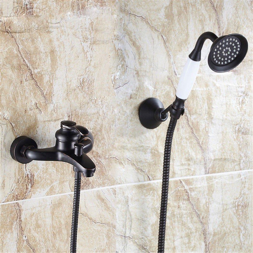 S.TWL.E Küche Küchenarmatur Waschtischarmatur Mischbatterie Spülbecken Armatur Wasserhahn Bad Schwarz Messing Antik Dusche Wasserhahn Pack Kalt-und Warmwasser Mischventil in die Badewanne Armatur D