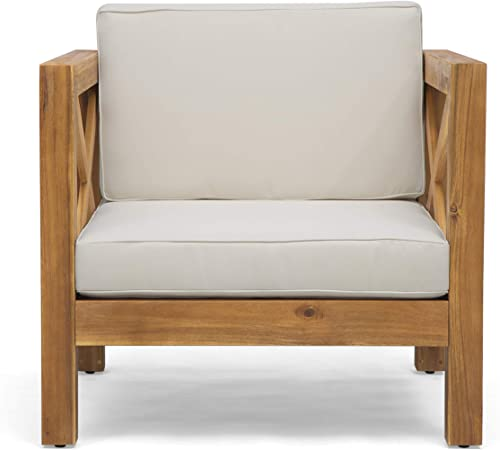 Indira Outdoor Acacia Wood Club Chair with Cushion, Teak Finish and Beige
