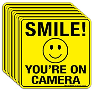 Smile You're On Camera Sign Stickers 6 Pack - 6 x 6 Inches- 4 Mil Vinyl - Laminated for Ultimate UV, Weather, Scratch, Water and Fade Resistance - Easy To Stick - Use for CCTV Security Camera