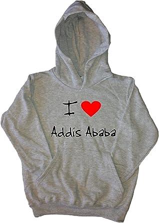 I Love Heart Addis Ababa Black Kids Sweatshirt