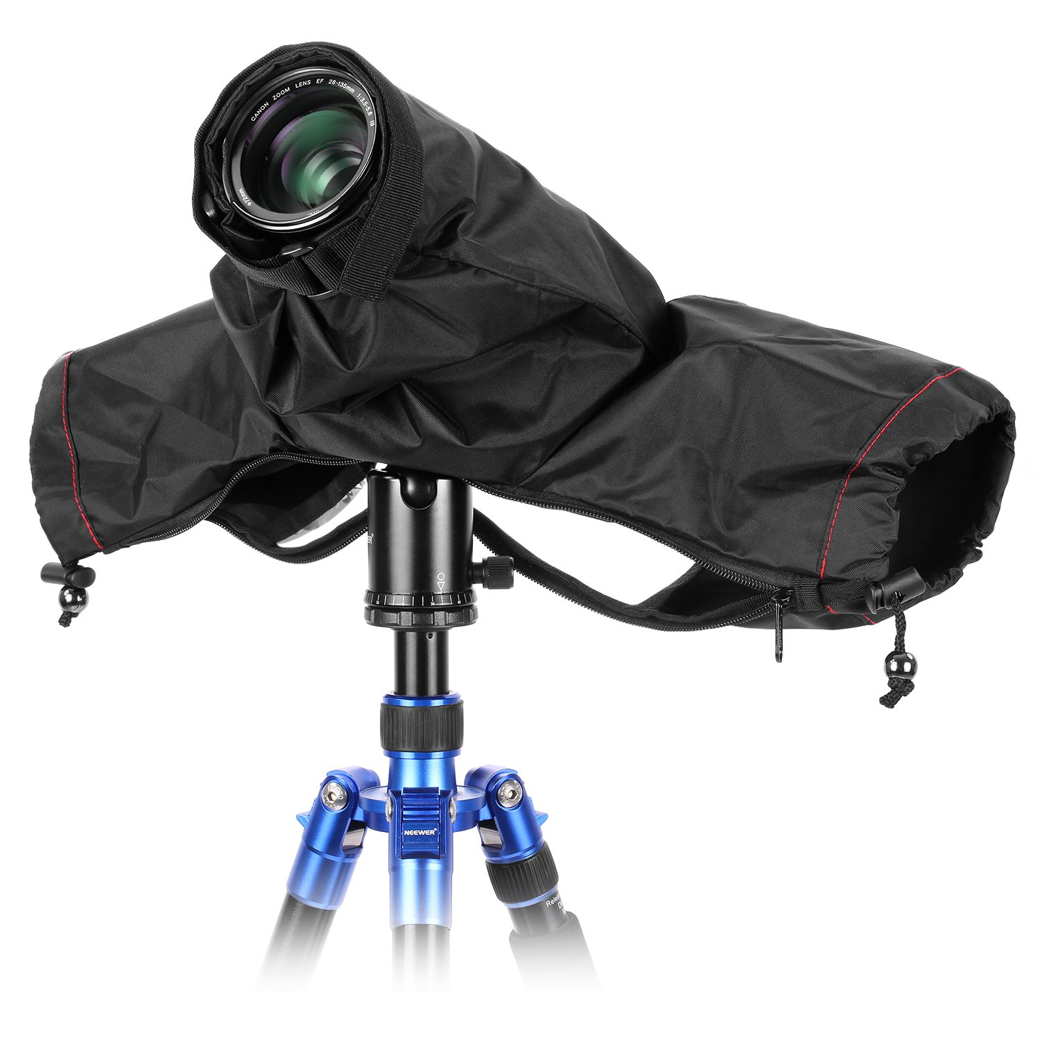 Neewer Pro Camera Rain Cover Shield Coat Protector Sleeve Dust-proof Waterproof Nylon Rainwear for Large Canon, Nikon, Sony, Pentax, Sigma, Tamron and other DSLR Cameras (Black) by Neewer