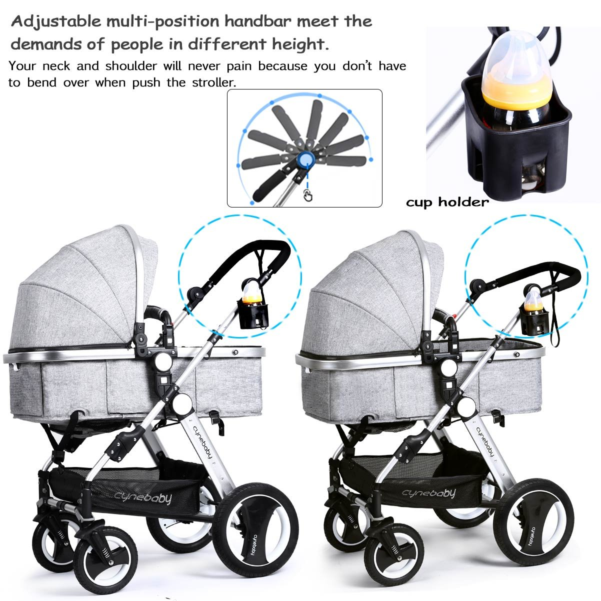 Infant Baby Stroller Toddler Carriage - Cynebaby Folding Pram Bassinet Strollers with Cup Holder (blue) by cynebaby (Image #6)