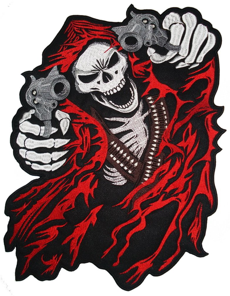 Reaper with Guns (Red) Back Patch 39cm x 25.5cm (15.1/4'' x 10'') Sew on by Another Quality product from Klicnow