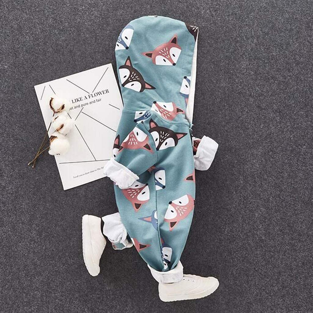 0-24 Months waitFOR Baby Winter Fall Romper Boys Girls Fox Print Cotton Pajamas with Button Snowsuit Romper Jumpsuit Overalls Infant Romper Baby Sleepwear