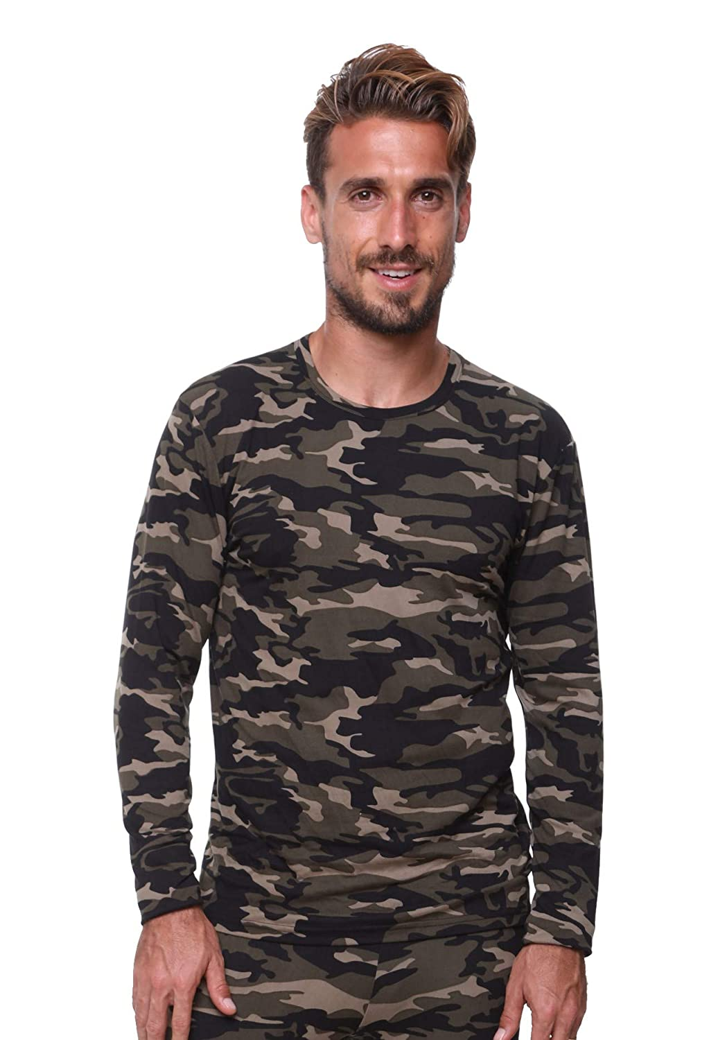 Men Thermal Underwear Top by Outland; Base Layer; Soft Lightweight Warm Fleece Very Warm Excellent Wicking (Small Camouflage) THT5051