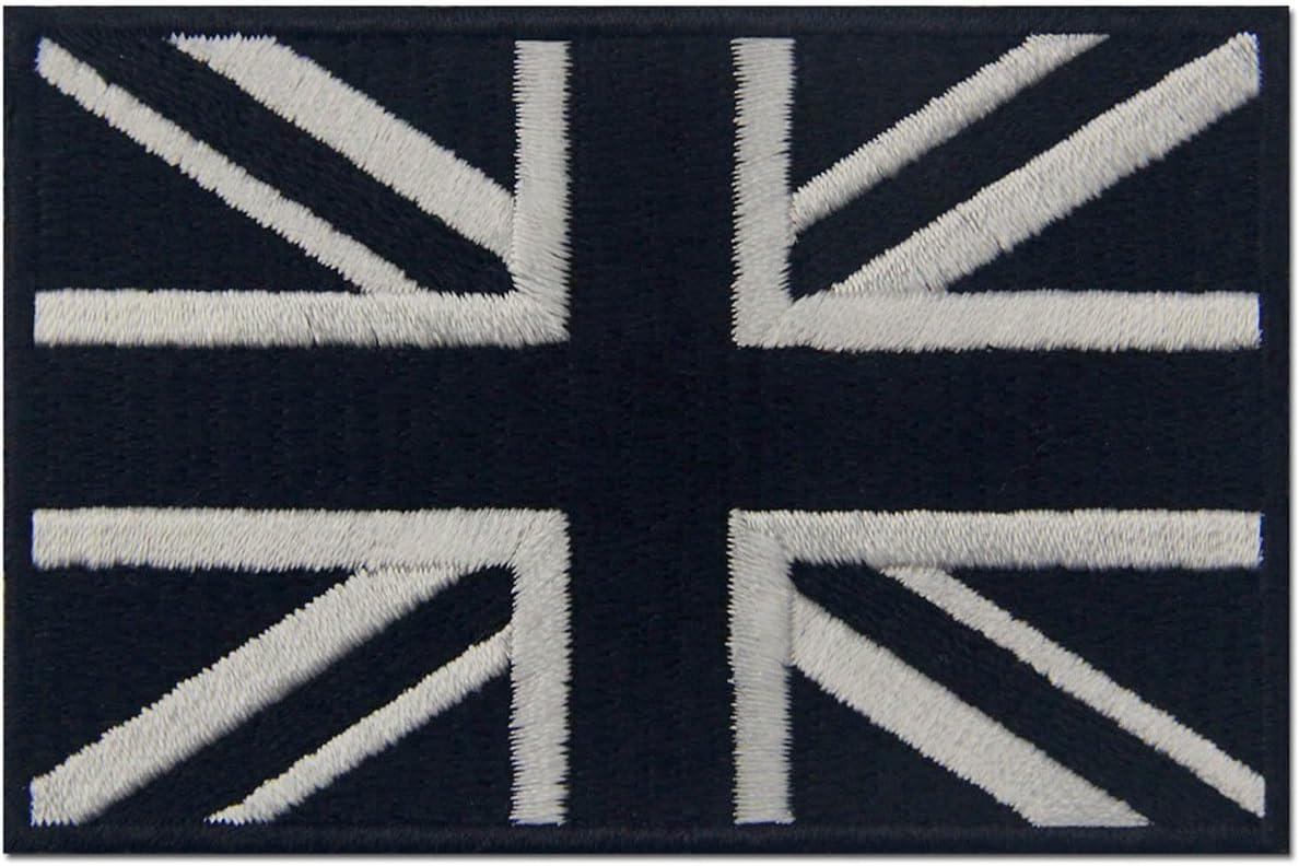 Táctico Bandera británica de Union Jack Reino Unido Emblema nacional Parche Bordado de Aplicación con Plancha, Blanco negro: Amazon.es: Hogar