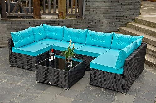 Urest Patio Furniture Sets 7 Pcs Rattan Furniture Chair Wicker Set,Outdoor Indoor Use Backyard Porch Garden Poolside Balcony Furniture