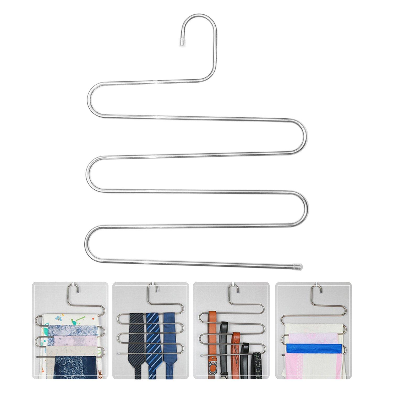 4 Pcs Trouser Hangers Space Saving S-type 5 Layers Multi-Purpose Stainless Steel Scarf Hanger XIAO MO GU Pants Hangers