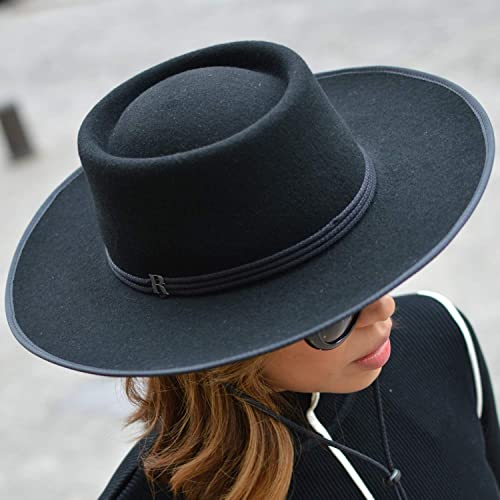 HAND MADE BLACK WIDE BRIM COWBOY WOOL FELT FEDORA STYLE HAT