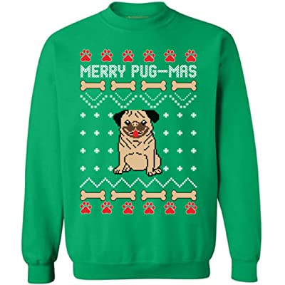 Awkward Styles Merry Pug-Mas Sweatshirt Pugmas Ugly Christmas Sweater Santa Pug at Men's Clothing store