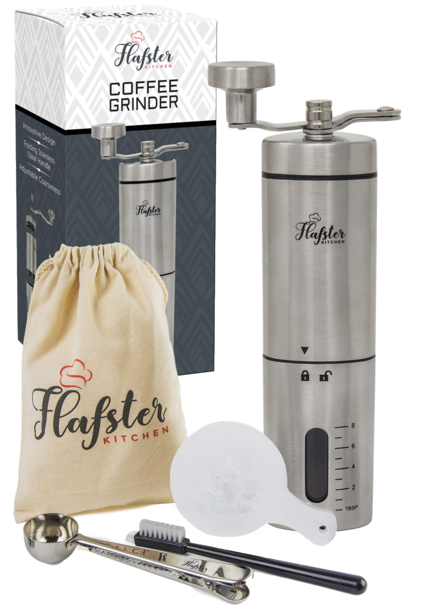 Flafster Kitchen Manual Coffee Grinder- Hand Coffee Bean Grinder With Ceramic Mechanism- Portable Stainless Steel Burr Coffee Mill With Foldable Stainless Steel Handle - Ergonomic Design - Accessories by Flafster Kitchen