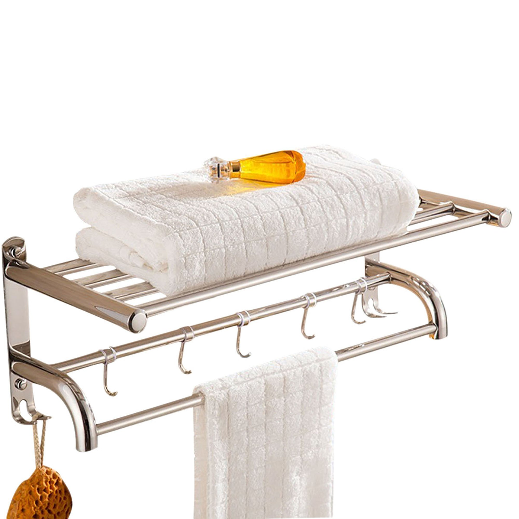 Absolutely Perfect Bathroom Double Tier Towel Shelf, 20'' Wall Mounted Shower Organizer Towel Racks, Polished Stainless Steel by Absolutely Perfect