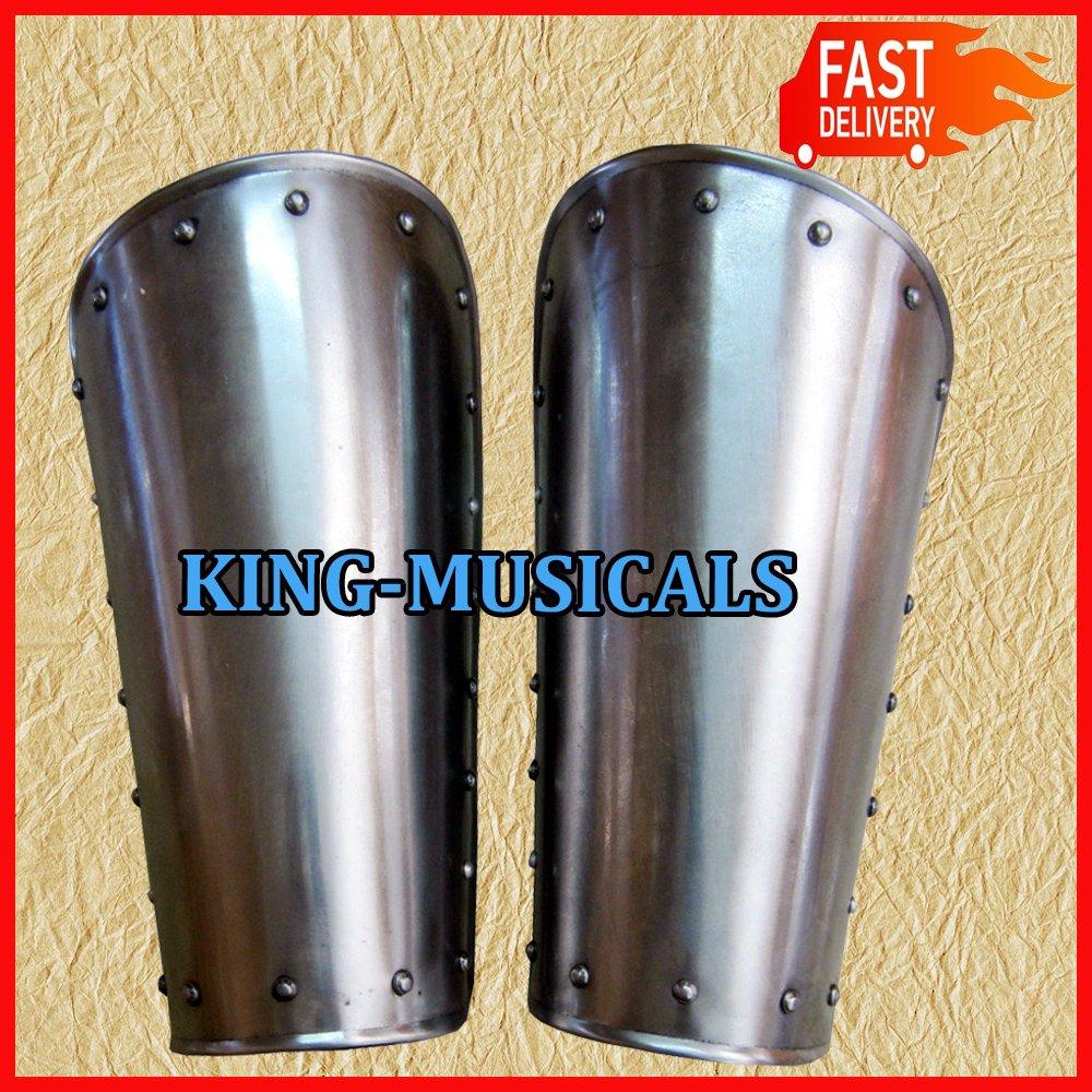 Medieval Leg Armor Pair, 16 Gauge Iron Steel Leg Guards Set, Greaves Shin guard   B071ZHD22Q