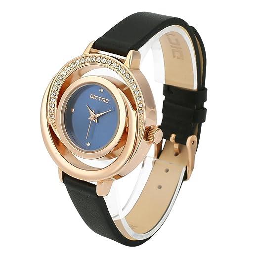 733feb556d12 Dictac Reloj de Pulsera Mujer de Cuero Genuino Forma de Concha con Diamantes   Amazon.es  Relojes