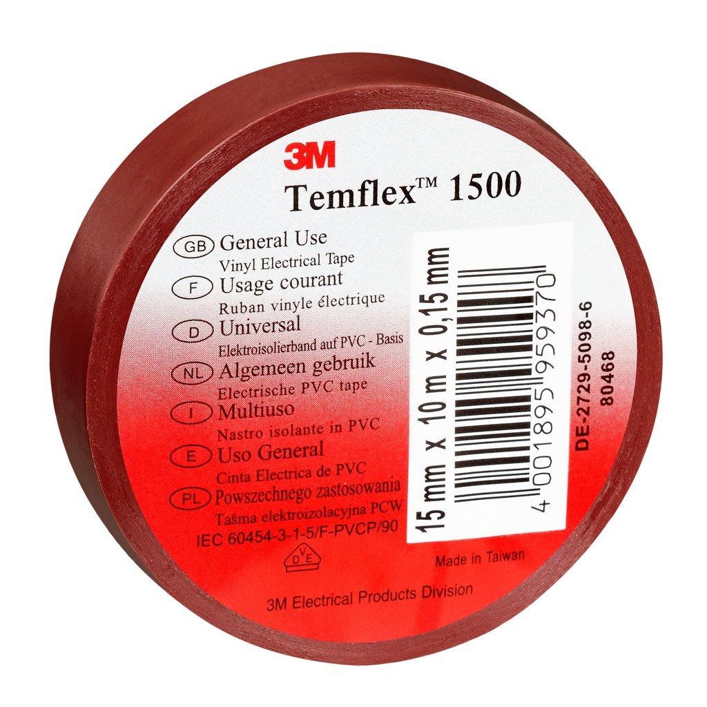 3 M tbra1525 TEMFLEX 1500 vinilo elé ctrico de cinta aislante, 15 mm x 25 m, 0,15 mm), color marró n 15mm x 25m 15mm) color marrón 3M 7000062284