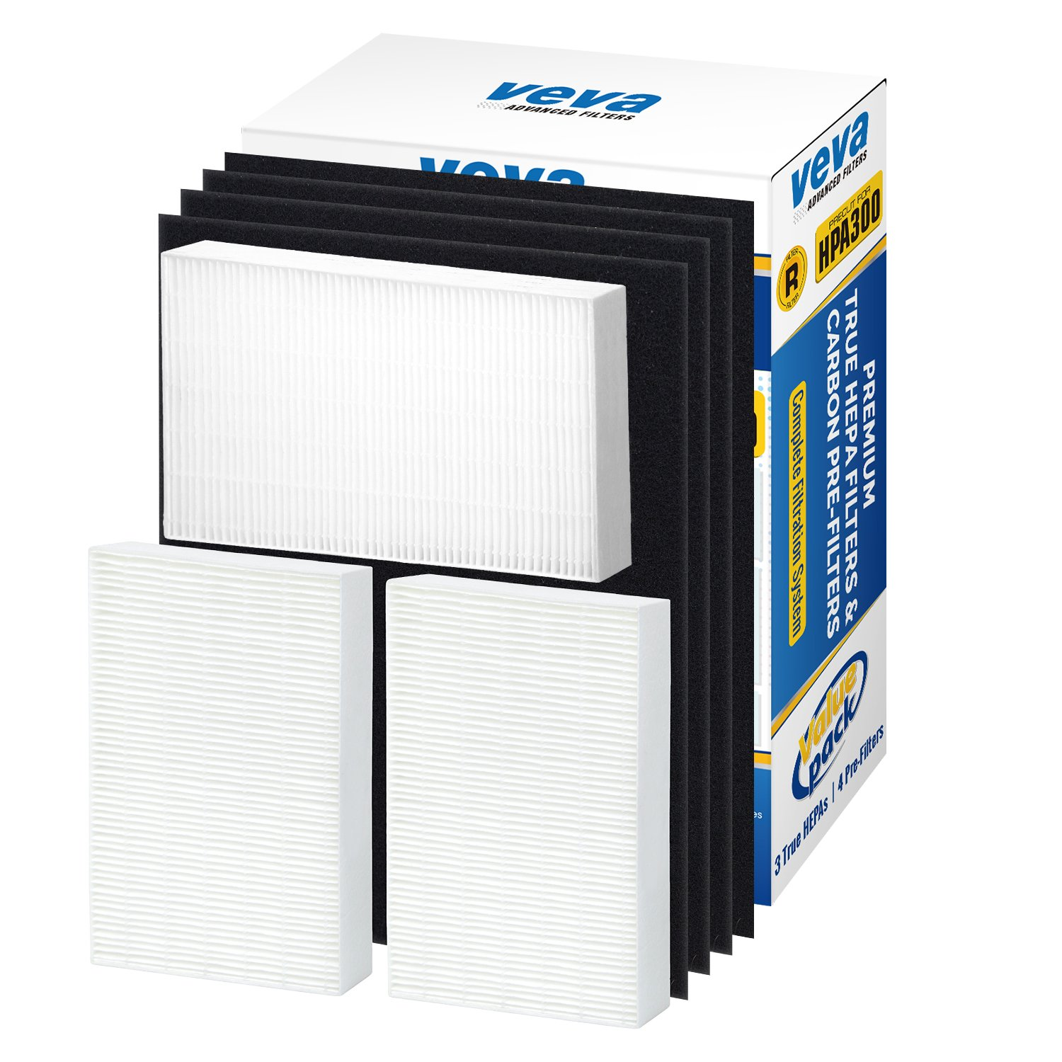 VEVA Premium True HEPA Replacement Filter 3 Pack Including 4 Precut Activated Carbon Pre-Filters for HPA300 compatible with Honeywell Air Purifier 300 and Filter R