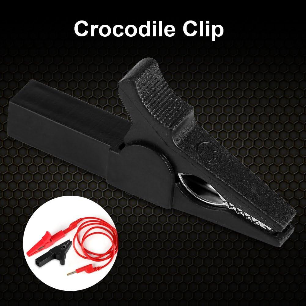 GLOGLOW 1000 V 32A Aislado Completo 55mm Pinza de cocodrilo Pinzas de cocodrilo Prueba de bater/ía del veh/ículo Cable de la bater/ía Abrazadera de Alambre Negro