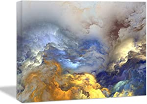 Looife Colorful Abstract Canvas Wall Art, 48x32 Inch Blue and Gold Smoke Clounds Textured Picture Prints Wall Decor, Modern Art Deco Home Decoration for Living Room, Bedroom and Office