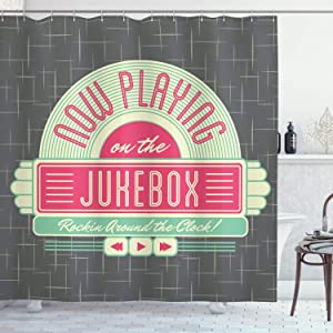 """Ambesonne Jukebox Shower Curtain, Charcoal Grey Backdrop with 50s Inspired Radio Music Box Image, Cloth Fabric Bathroom Decor Set with Hooks, 70"""" Long, Mint Pink"""