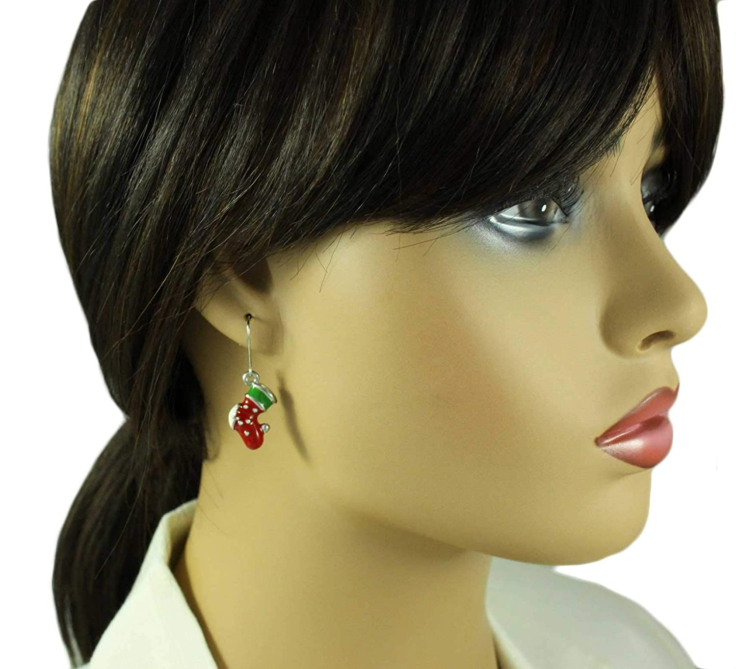 Red and Green Christmas Stocking Pierced Earring