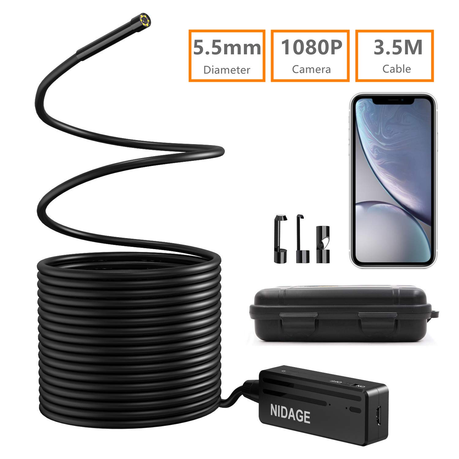 Wireless Endoscope, NIDAGE 5.5mm 2MP WiFi Borescope 1080P HD Semi-Rigid Snake Camera for iPhone Android, Tablet, Motor Engine Sewer Pipe Vehicle Inspection Camera with Carry Box(11.5FT) by NIDAGE