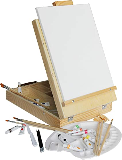 Table Top Adjustable Wooden Desktop Easel Sketching and Drawing Supplies Paintbrushes /& Palette for Painting 12 Tubes Canvas Desk Easel with Acrylic Paints