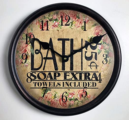 Antique Bath Wall Clock, Available in 8 Sizes, Most Sizes Ship The Next Business Day,