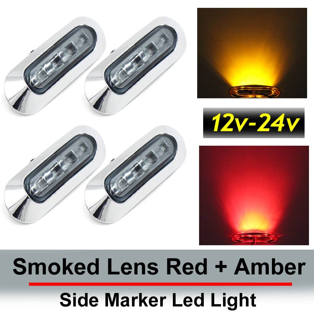 4 pcs TMH 3.6' submersible 4 LED Smoked lens Red & Amber Side Led Marker (2 + 2) 10-30v DC, Truck Trailer marker lights, Marker light amber, Rear side marker light, Boat Cab RV