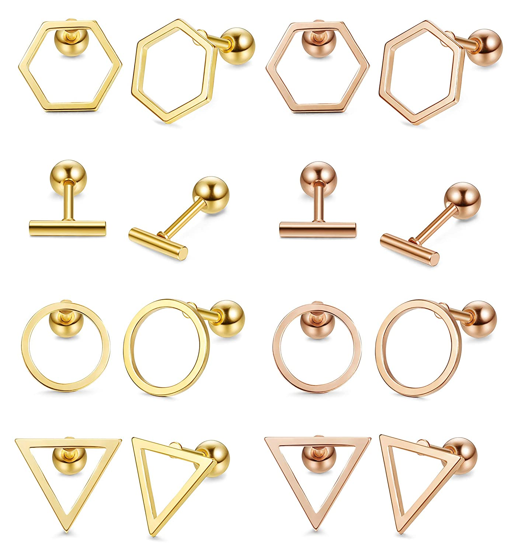 Milacolato Acier Inoxydable 8 Paires Helix Cartilage Goujons Boucles Doreilles Ensemble Barbell Oreille Piercing Pour Hommes Femmes