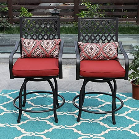 PHI VILLA Patio Height Bar 3 Piece Set Bistro Outdoor Garden Backyard Stools Set, Swivel 2 Patio Chairs and 1 Metal Top Square Table, Seat Cushions and Adjust Screw Feet