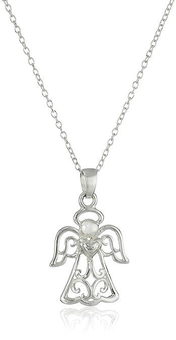 Amazon hallmark jewelry sterling silver angel pendant necklace hallmark jewelry sterling silver angel pendant necklace 18quot aloadofball Images