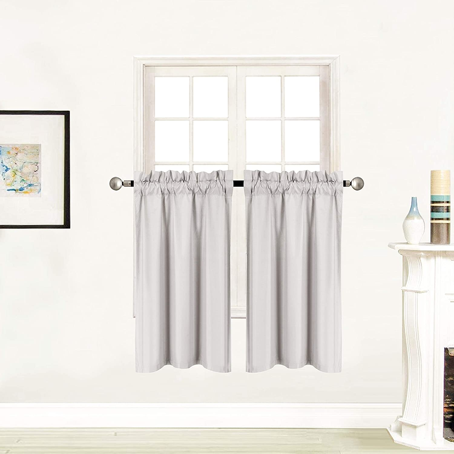"""Better Home Style 100% Blackout 2 Panels Tiers Window Treatment CurtainInsulated Drapes Short Panels for Kitchen Bathroom or Any Small Window M3036 (Light Grey/Silver, 2 Panels 28"""" W X 36"""" L Each)"""