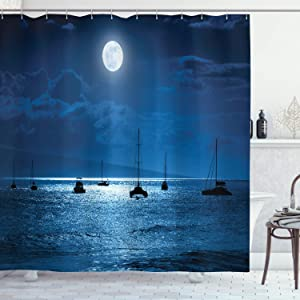 Ambesonne Ocean Shower Curtain, Dramatic Photo of a Nighttime Sky Full Moon Over a Calm Ocean Scene in Maui Hawaii, Cloth Fabric Bathroom Decor Set with Hooks, 75
