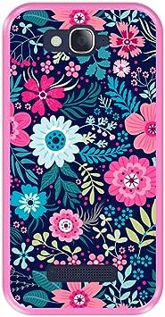 Hapdey Funda Rosa para [ Alcatel One Touch Pop C7 ] diseño [ Patrón de Flores Multicolor ] Carcasa Silicona Flexible TPU: Amazon.es: Electrónica