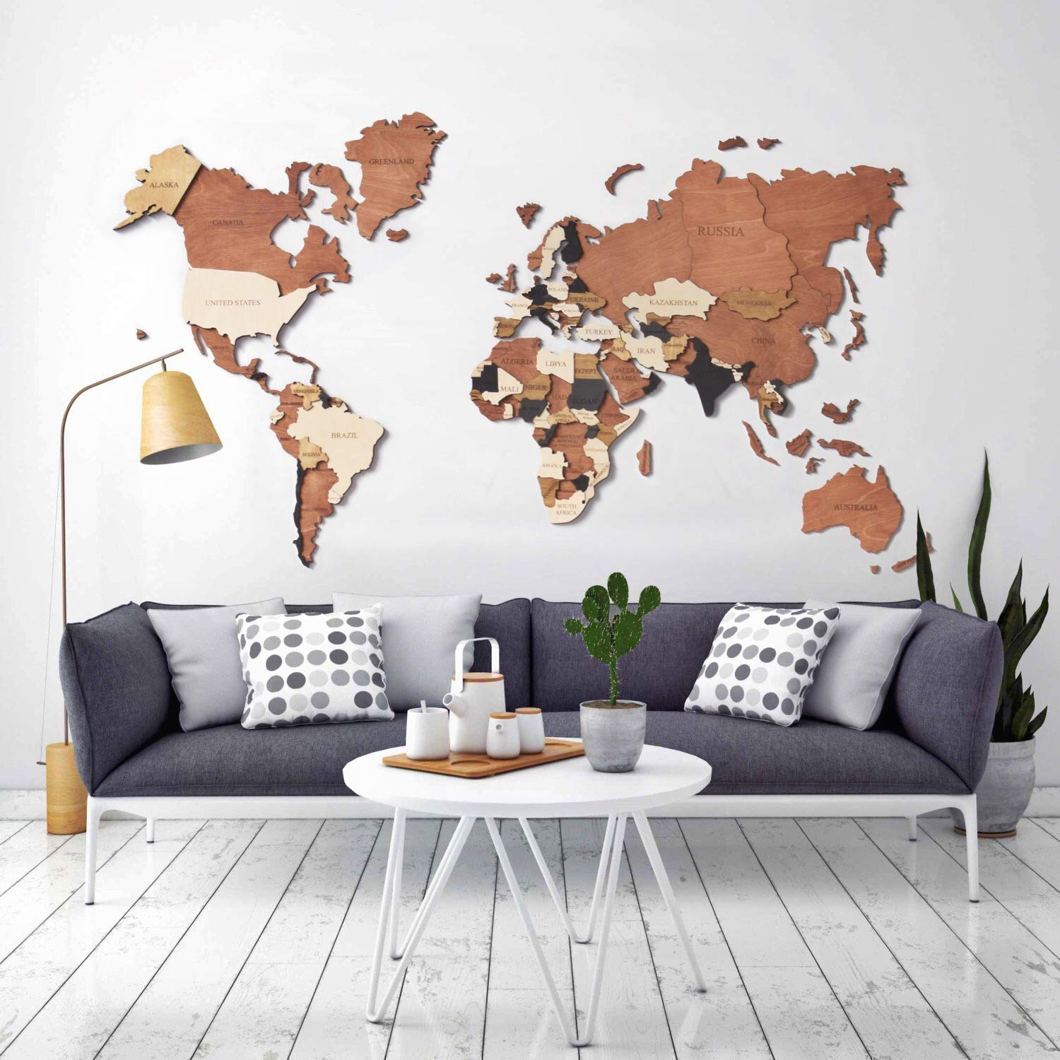 Amazon Com Woodpecstudio 3d Wood World Map Wall Art Wall Decor Christmas With States Large Travel Wall Rustic Home Decor Office Dorm Living Room Interior Design M Size Handmade
