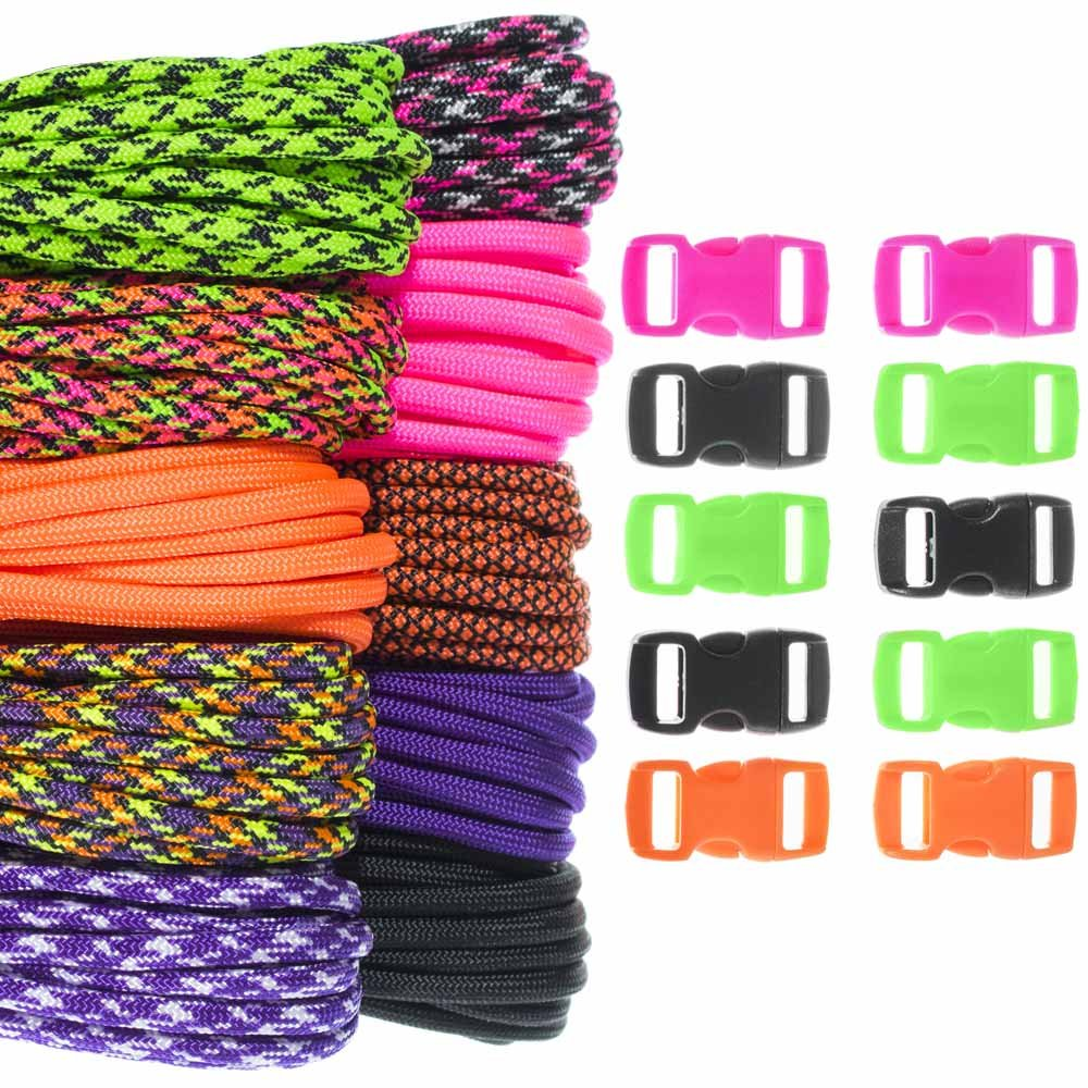 Keychain Projects Craft County 100 Foot 550 Paracord Crafting Kit Selection Vibrant Colors /& Buckles Create Colorful Paracord Bracelet Lanyard Ideal for All Ages and Skill Levels
