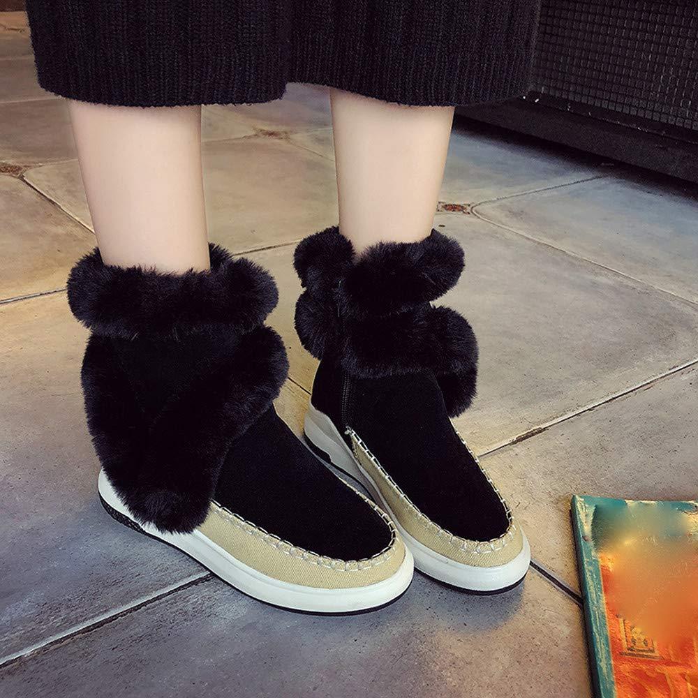 ac62863e8 Naturazy Zapatos Mujer Botines Mujer Tacon Medio Planos Invierno Alto Botas  De Mujer Casual Plataforma Nieve Ante Botas De Cordones Calientes Boots  ...