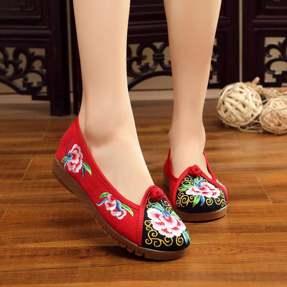 Canvas Color Matching Color Shoes Womens Shoes Embroidered Shoes with Soft Cushion Layers Sew by Hand Chinese Style