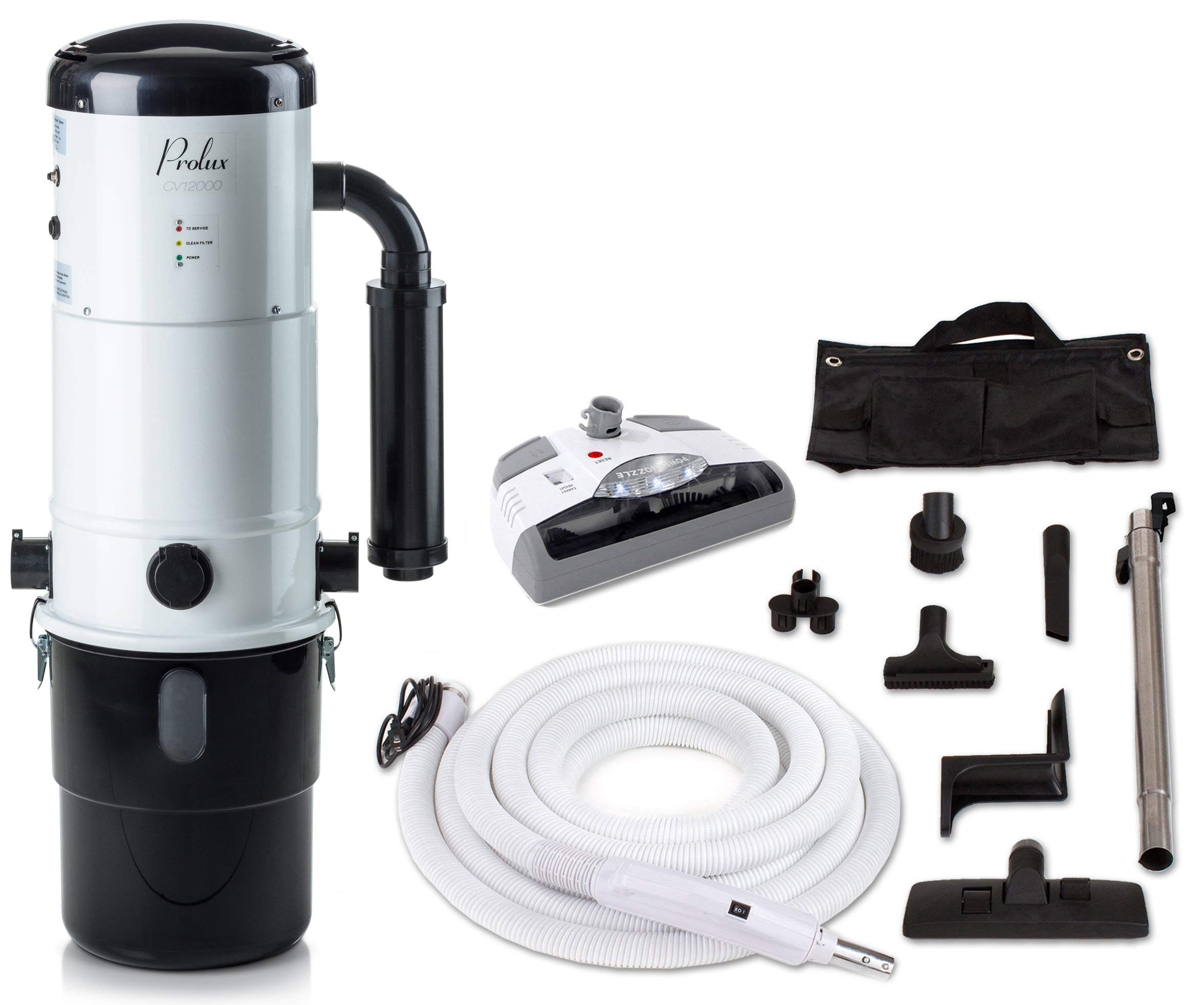 Prolux CV12000 Central Vacuum Unit System with Electric Hose Power Nozzle Kit and 25 Year Warranty by Prolux