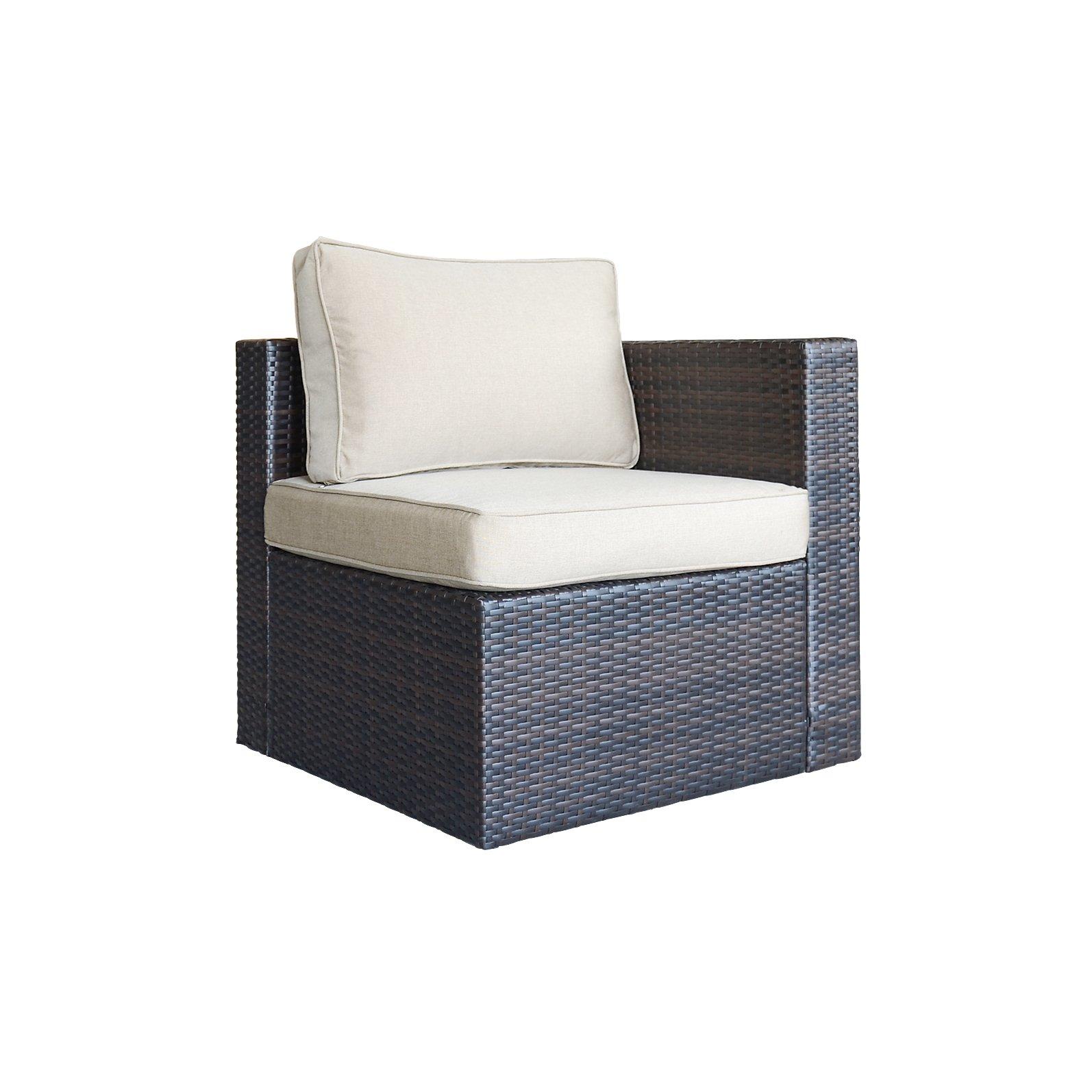 ORNO TTOBE Outdoor Patio Garden Furniture Rattan Wicker Sofa,Corner Chair by ORNO TTOBE