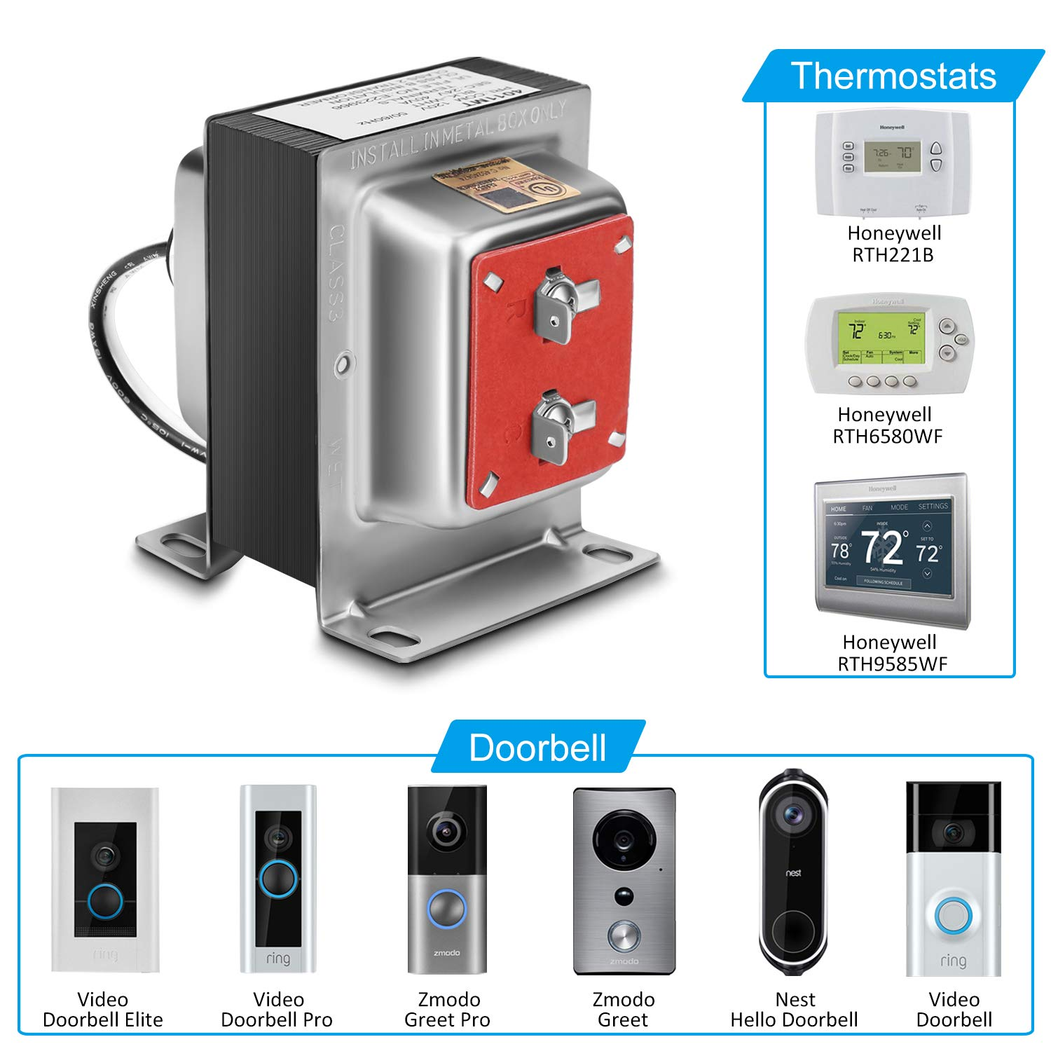 24V 40VA Thermostat and Doorbell Transformer, Power Supply Compatible with Honeywell Thermostat, Nest Hello Doorbell and All Versions of Ring Doorbell