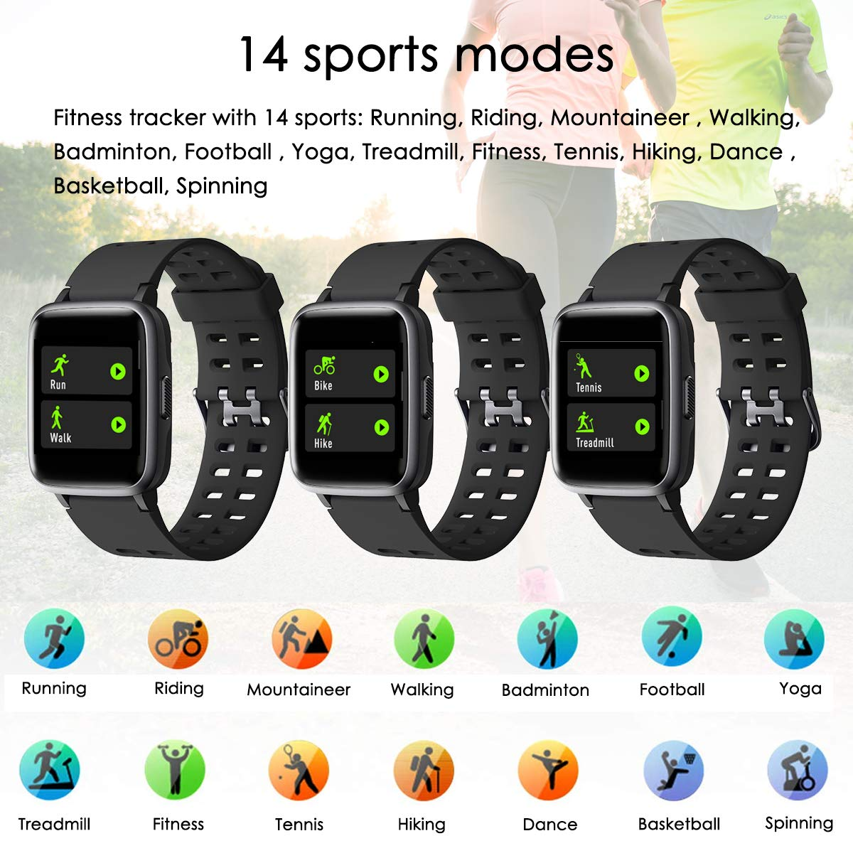LATEC Fitness Tracker, Smartwatch Fitness Watch Impermeabile IP68 con Cardiofrequenzimetro Monitor del Sonno Smart Watch Activity Tracker Pedometro Braccialetto Cronometro per iPhone Samsung Huawei