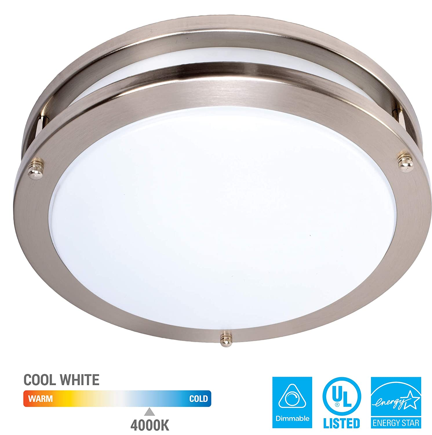 KOR 16-Inch LED Ceiling Light Fixture - 24W, 1700lm, 4000K (Cool White Color) Dimmable Light Energy Efficient and Easy Installation - Ideal for Living Room Bedroom Kitchen Hallway
