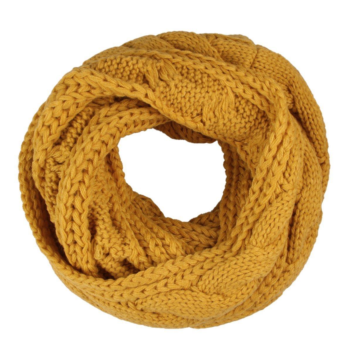 Bufanda Unisex, TININNA Otoño Invierno Cálida Circle Bufanda de Abrigo de Cuello de Punto para Mujer y Hombre-Amarillo