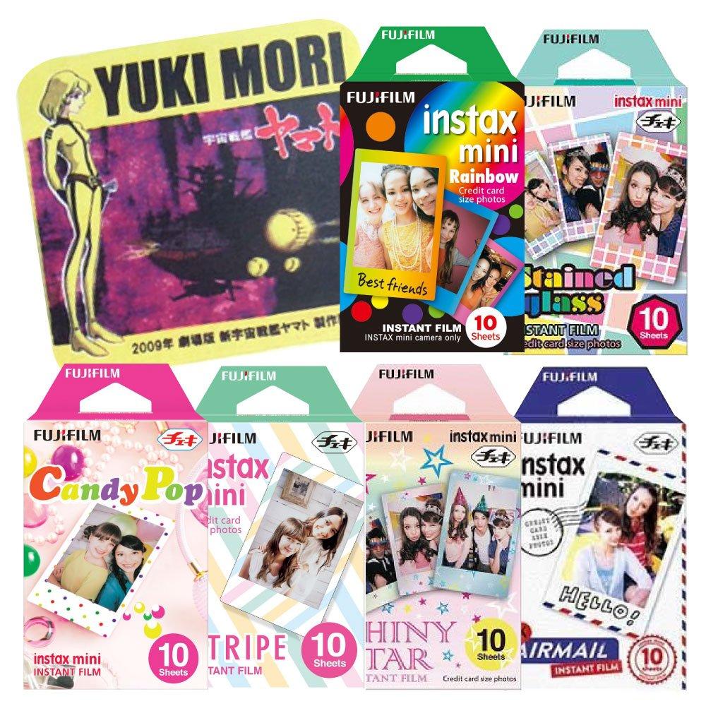 Fujifilm Instax Mini Instant Film Rainbow & Staind Glass & Candy Pop & Shiny Star & Stripe & Airmail 10 Sheets X 6 Assorted Films Value Set with Star Blazers 2199 premium towel